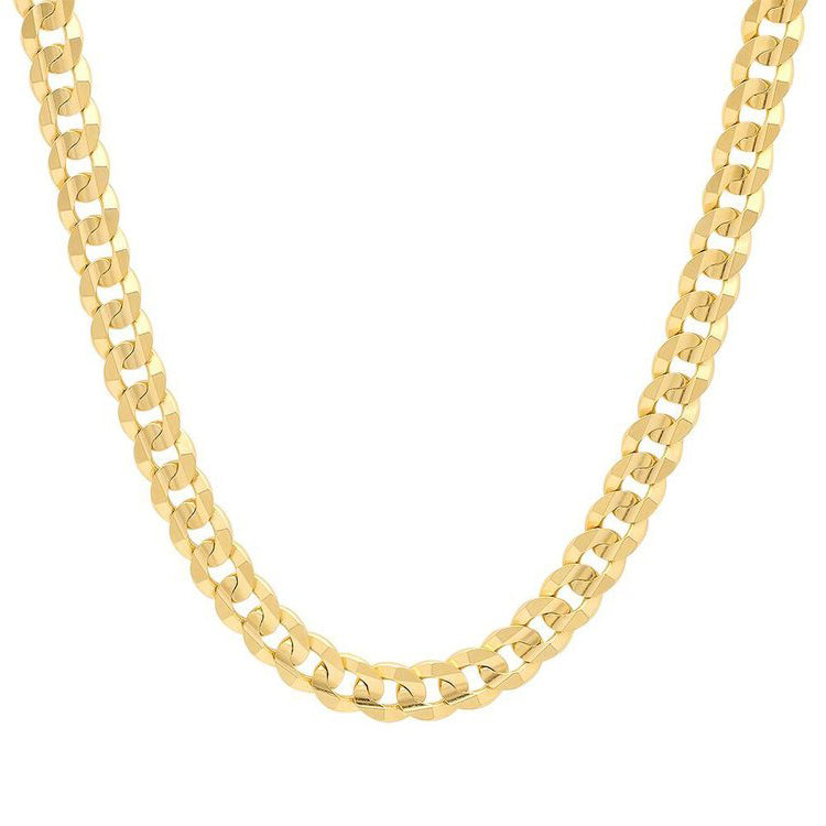 10K Yellow Gold Men's Solid Cuban Link Curb Chain