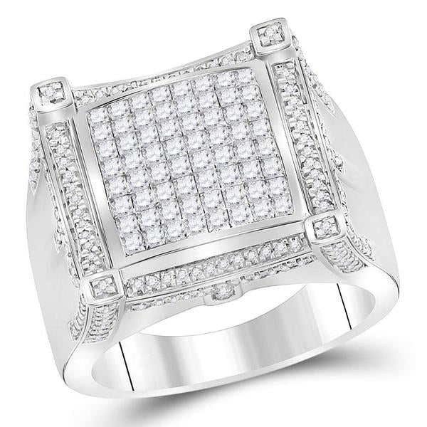 Men's 1-7/8 Ct Diamond Princess Symmetrical Square Cluster Ring in 10K White Gold