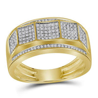 Men's 1/3 Ct Diamond Pave-set Faceted Cluster Band Ring in 10K Yellow Gold