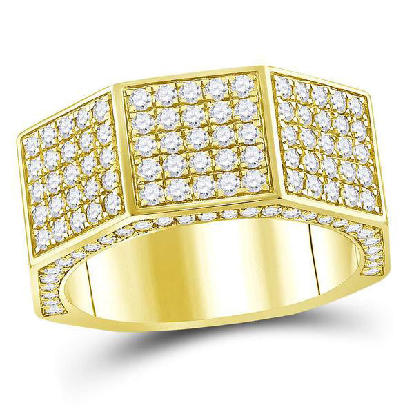Men's 2-3/4 Ct Diamond Octagon Nut Faceted Band Ring in 14K Yellow Gold