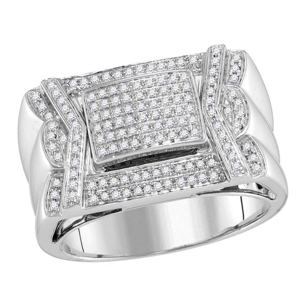 Men's 1/2 Ct Diamond Indented Square Cluster Ring in 10K White Gold