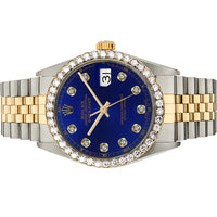 Diamond Rolex Two-Tone 18K Gold Datejust 36 Blue Iced Watch