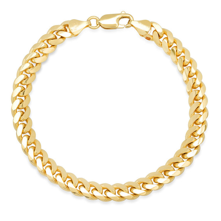 10K Yellow Gold Men's Hollow Miami Cuban Link Bracelet
