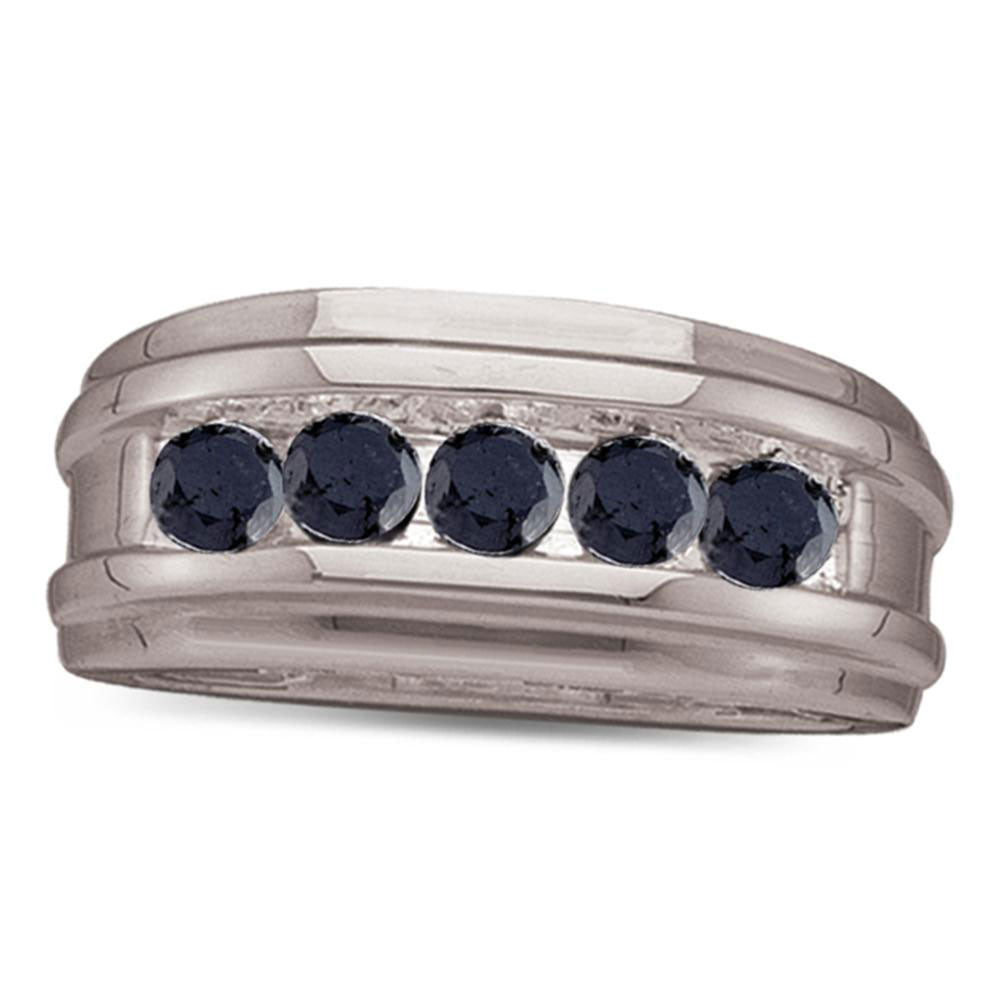 10K White Gold Mens Round Black Color Enhanced Diamond Band Ring 1/4 Ct