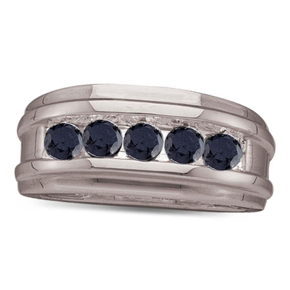 10K White Gold Mens Round Black Color Enhanced Diamond Wedding Band 1.00 Ct