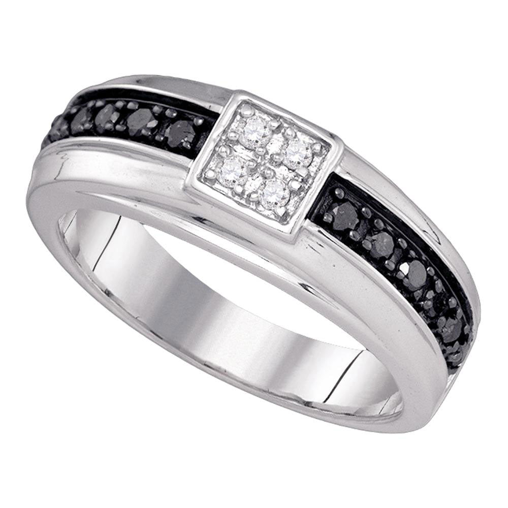 10k White Gold Mens Black Color Enhanced Diamond Wedding Anniversary Band Ring 1/2 Ct
