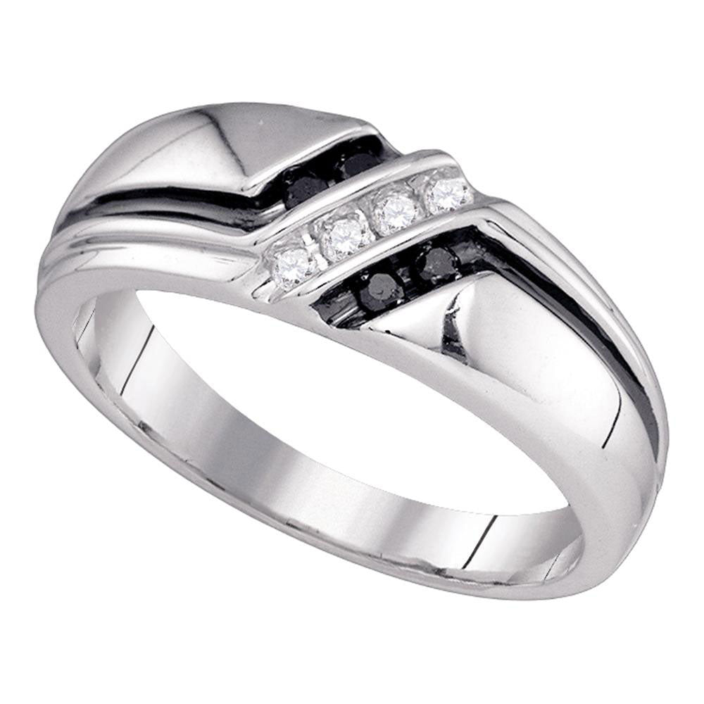 10K White Gold Mens Round Black Color Enhanced Diamond Band Ring 1/5 Ct