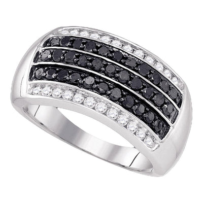 10K White Gold Mens Round Black Color Enhanced Diamond Band Ring 1.00 Ct