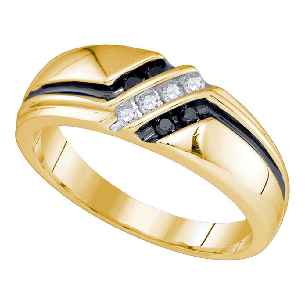 10K Yellow Gold Mens Round Black Color Enhanced Diamond Band Ring 1/5 Ct