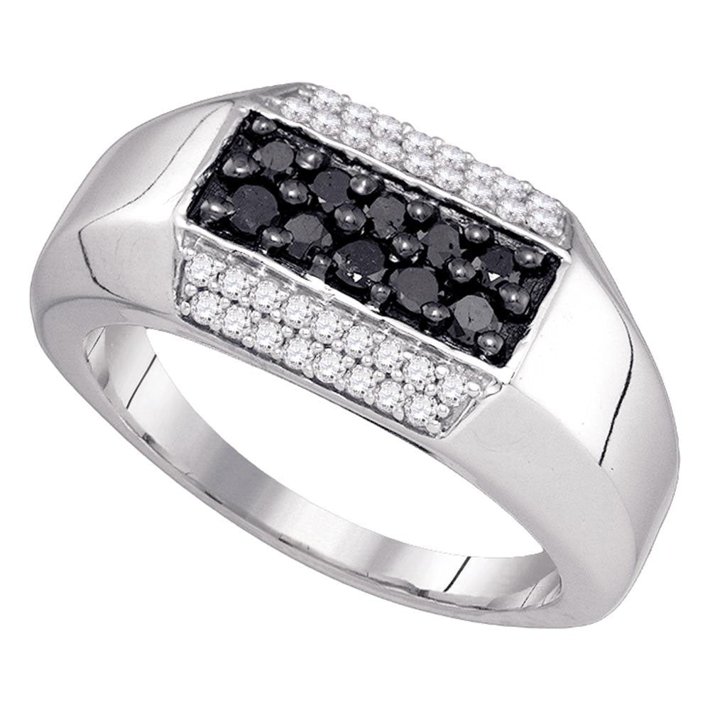 10K White Gold Mens Round Black Color Enhanced Diamond Band Ring 3/4 Ct