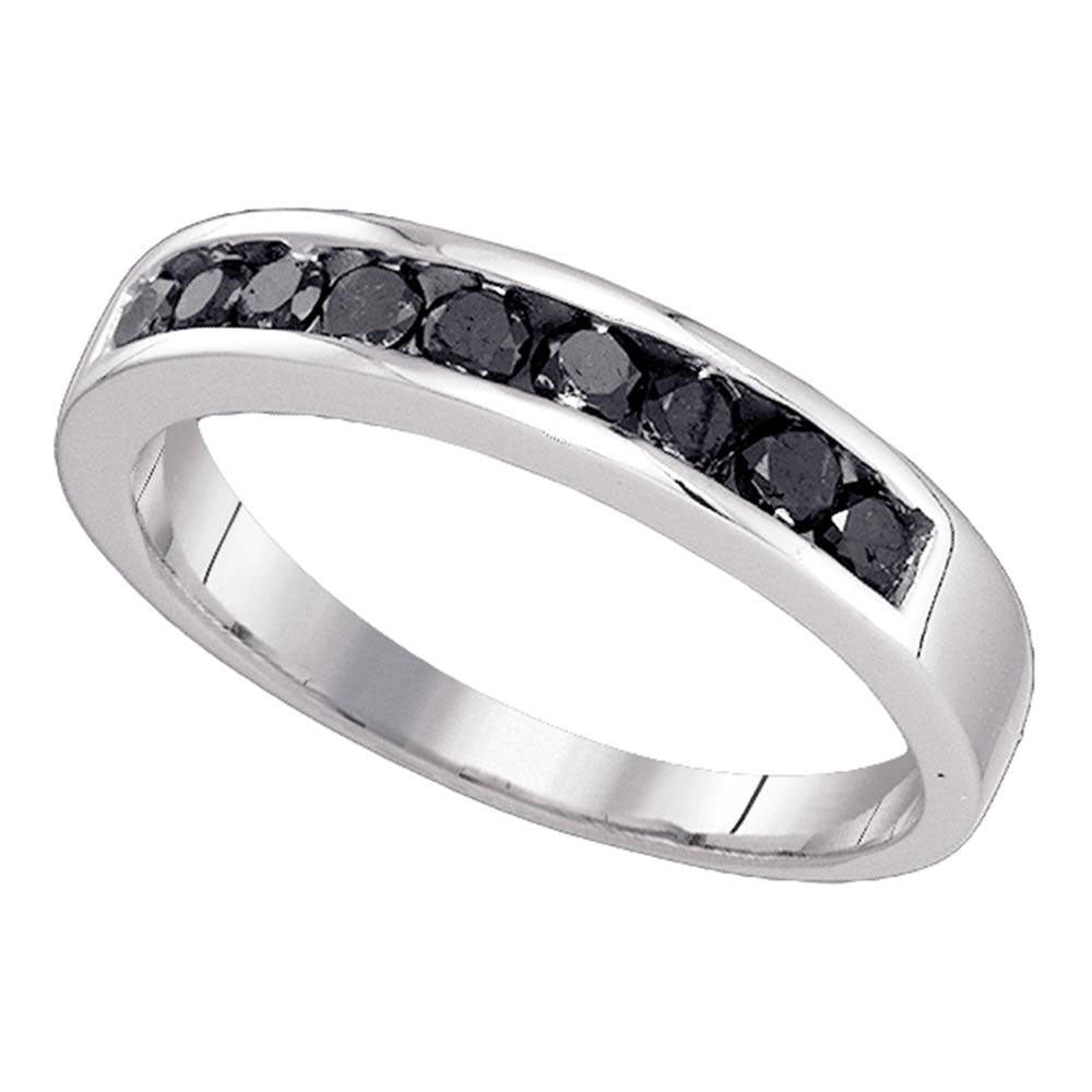 10K White Gold Mens Round Black Color Enhanced Diamond Wedding Band Ring 1/2 Ct