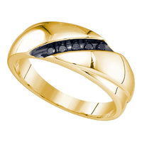 10K Yellow Gold Mens Round Black Color Enhanced Diamond Band Ring 1/8 Ct