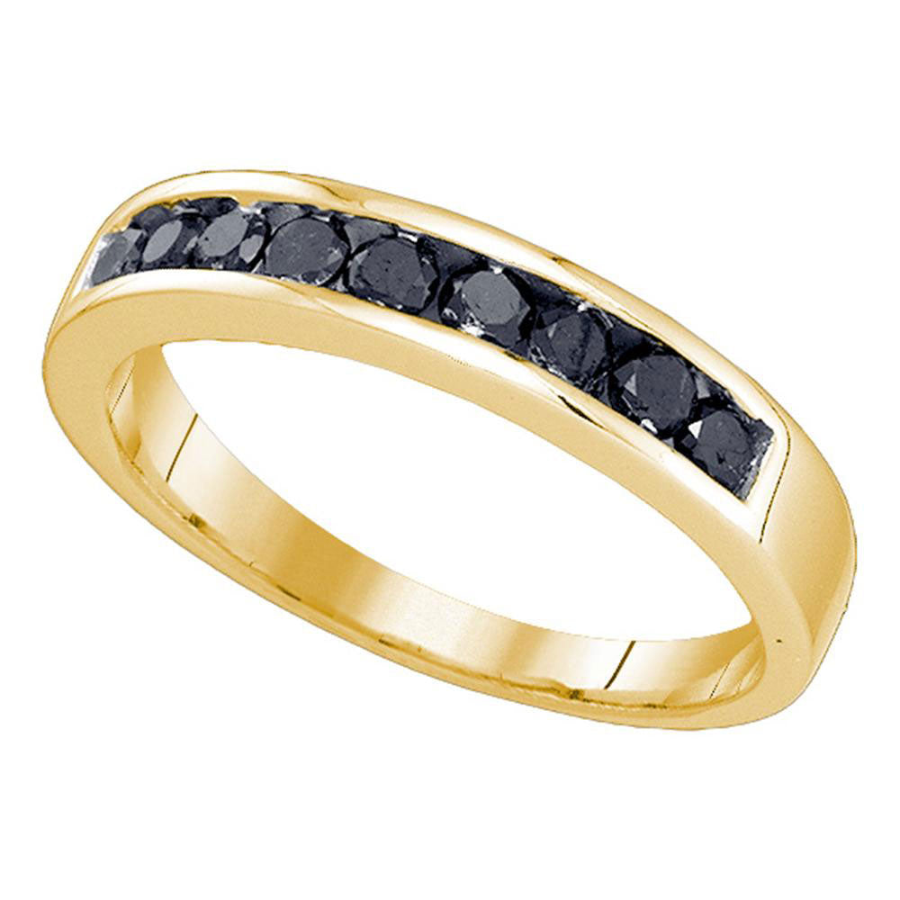 10K Yellow Gold Mens Round Black Color Enhanced Diamond Wedding Band Ring 1/2 Ct