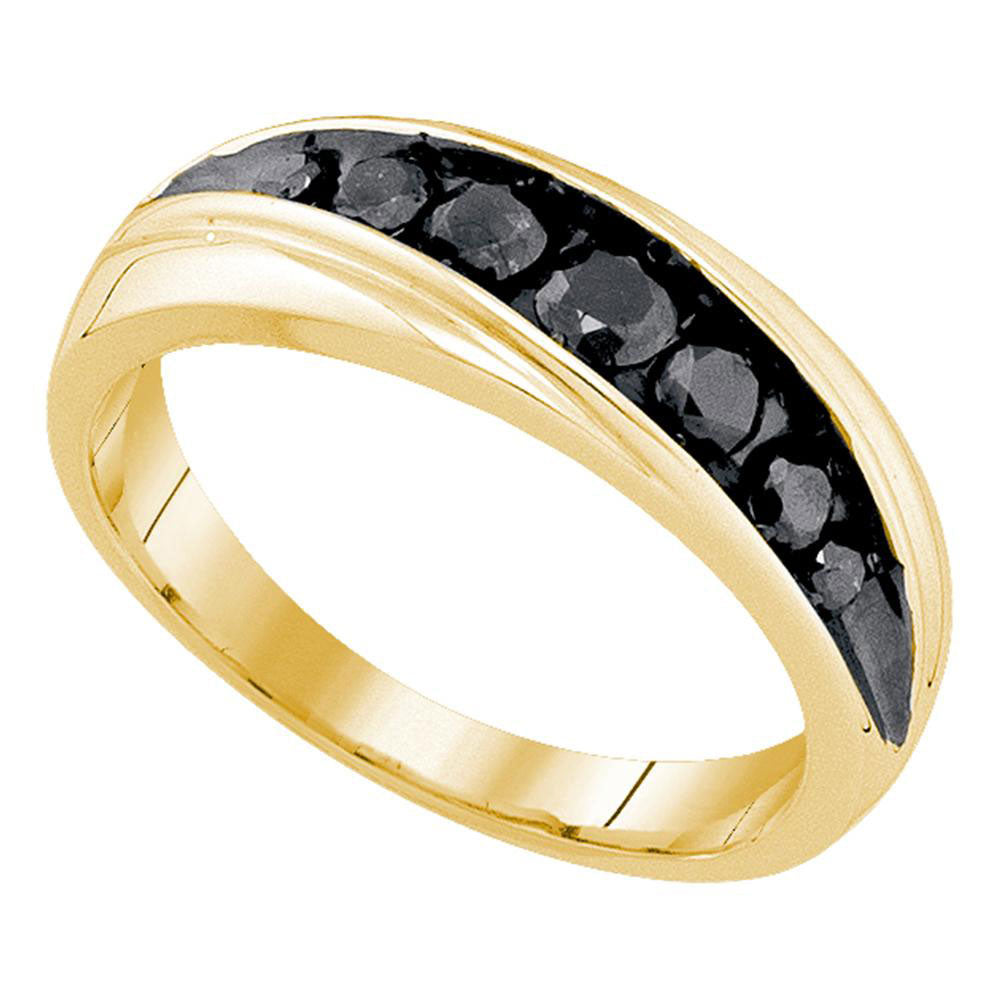 10K Yellow Gold Mens Round Black Color Enhanced Diamond Band Ring 3/4 Ct