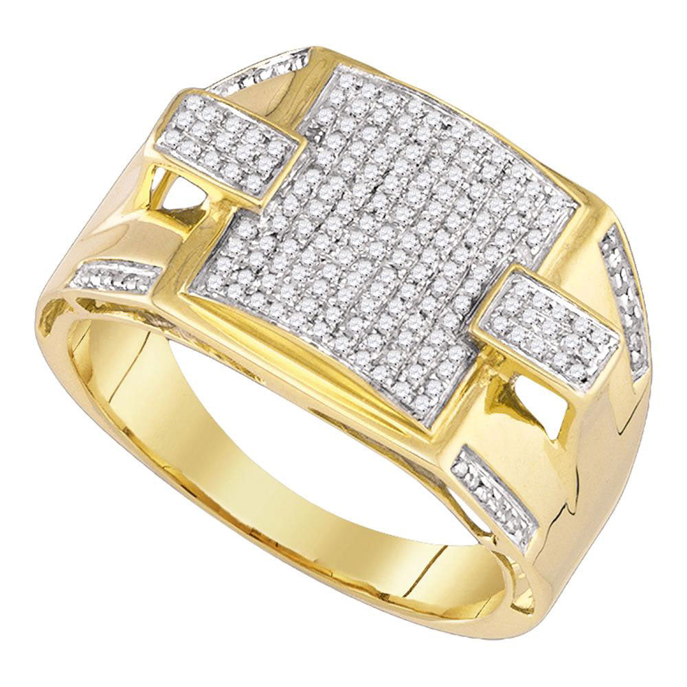 10K Yellow Gold Mens Round Pave-set Diamond Square Cluster Ring 1/2 Ct