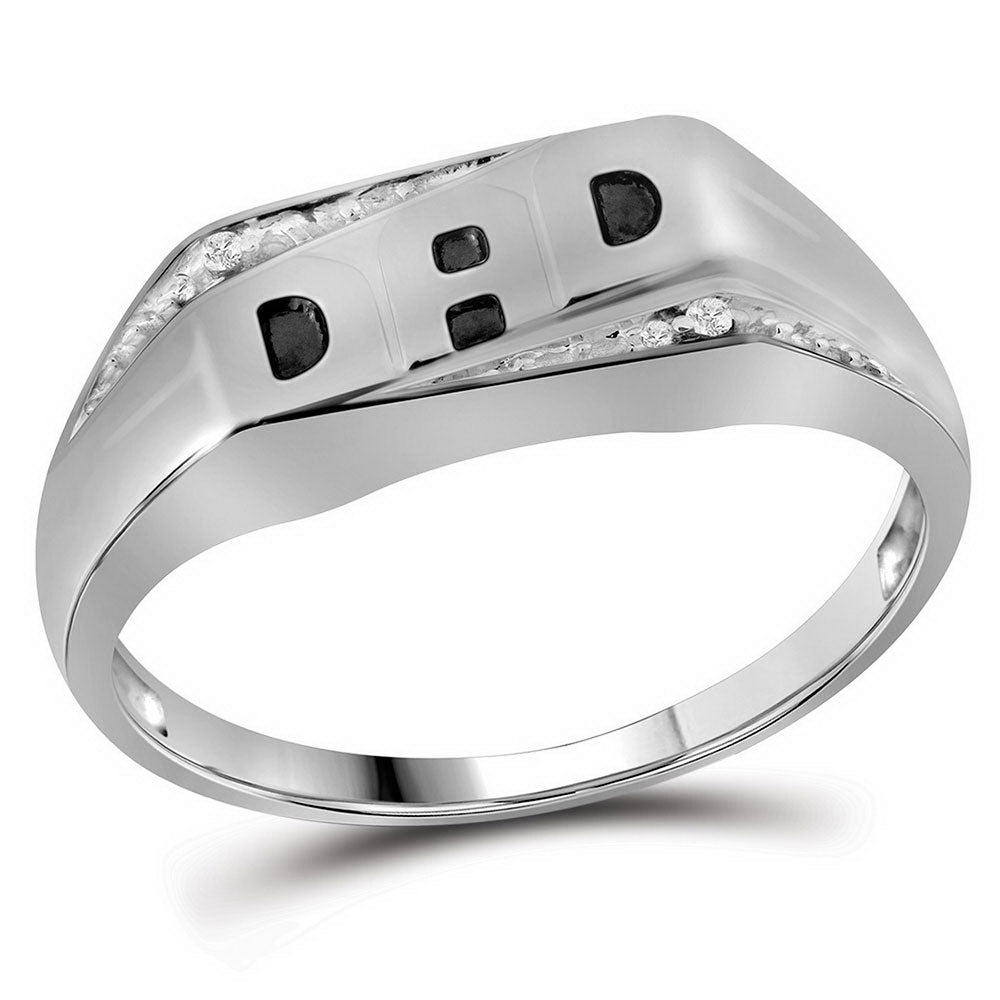 10K White Gold Mens Round Diamond Dad Father Band Ring .01 Ct
