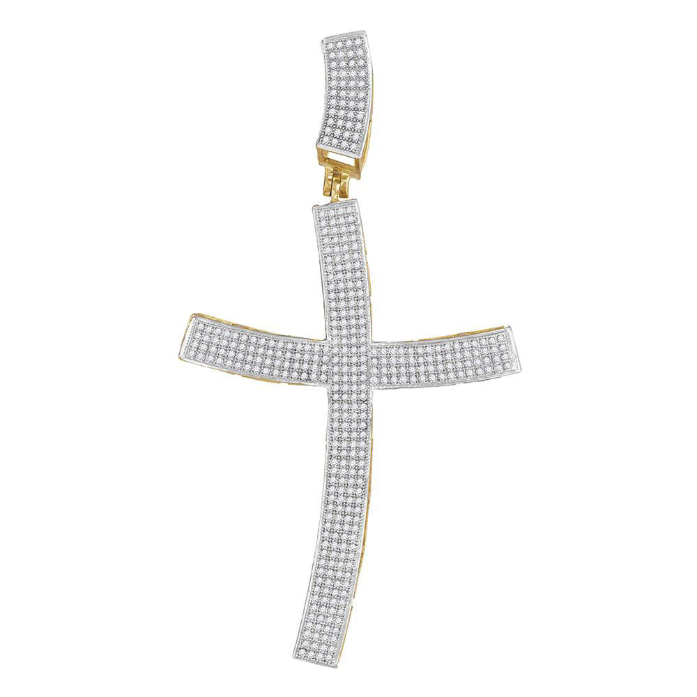 10K Yellow Gold Men's Diamond Curved Contoured Roman Cross Charm Pendant 1.00 Ct