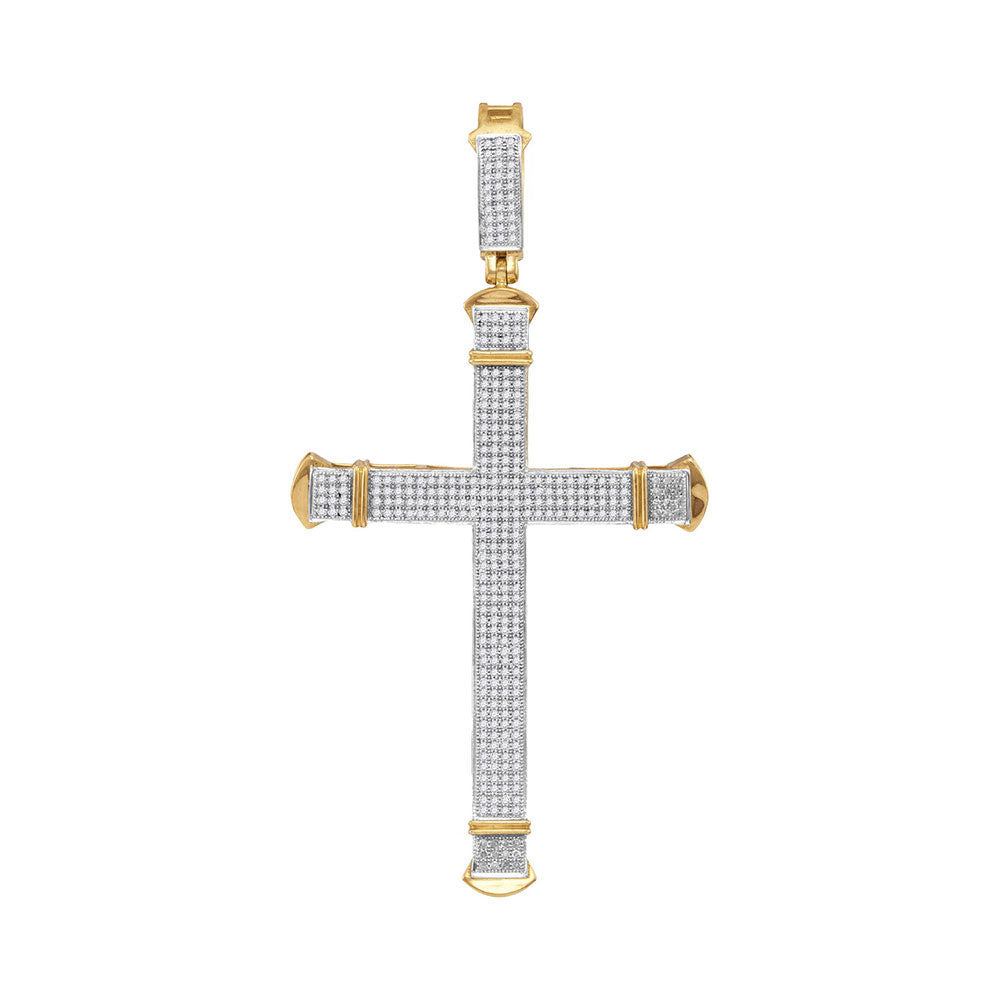 10K Yellow Gold Men's Diamond Roman Cross Charm Pendant 1.00 Ct