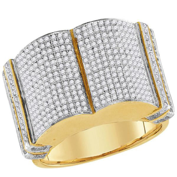 Men's 1-1/5 Ct Diamond Symmetrical ed Cluster Ring in 10K Yellow Gold