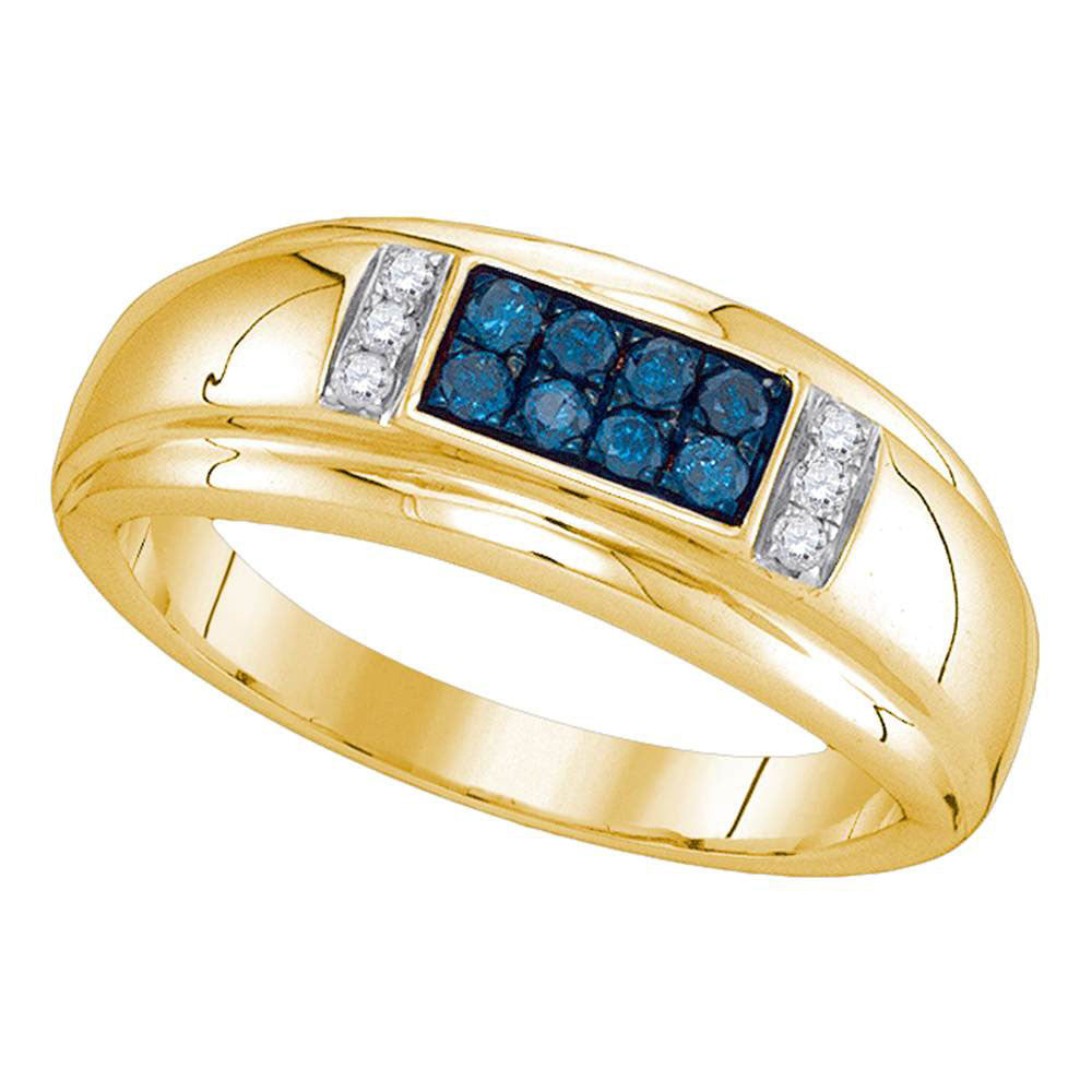 10K Yellow Gold Mens Round Blue Color Enhanced Diamond Band Ring 1/3 Ct