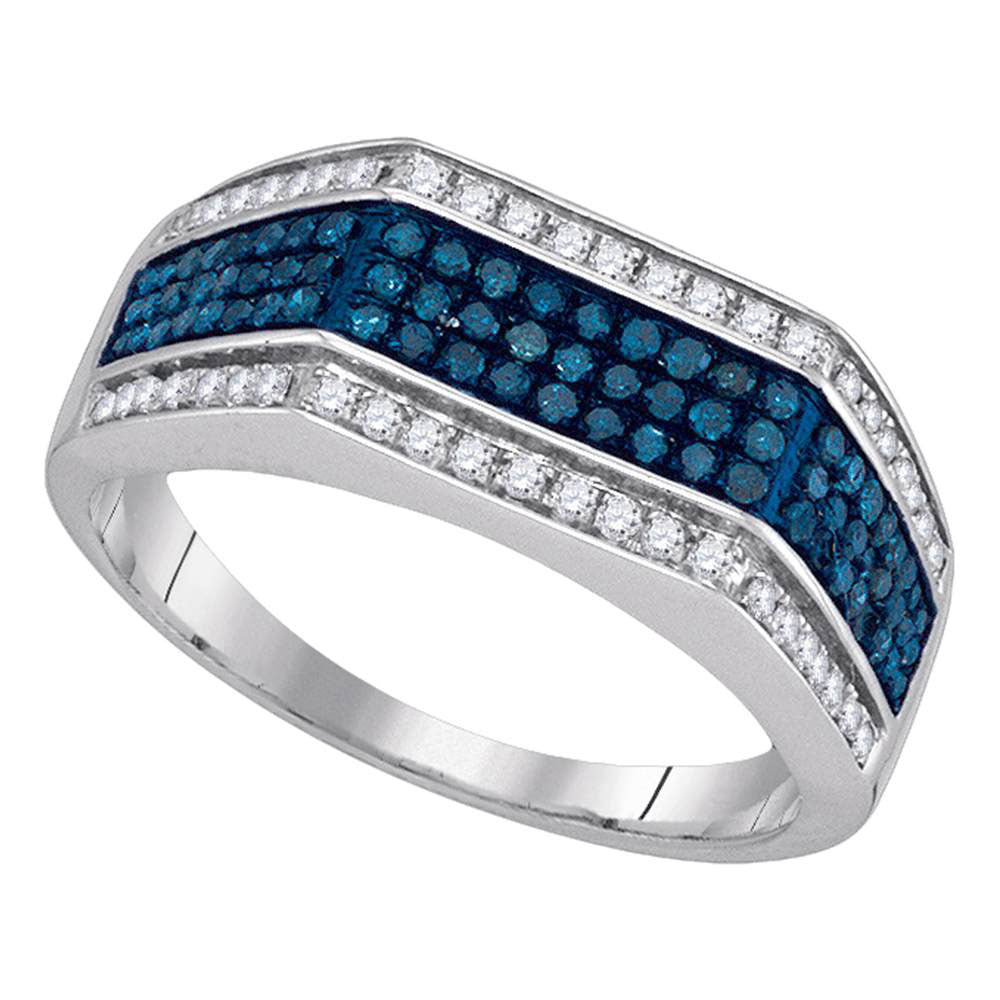 10K White Gold Mens Round Blue Color Enhanced Diamond Triple Stripe Flat Surface Band 3/4 Ct
