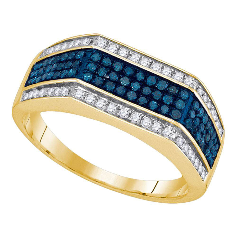 10K Yellow Gold Mens Round Blue Color Enhanced Diamond Triple Stripe Flat Surface Band 3/4 Ct