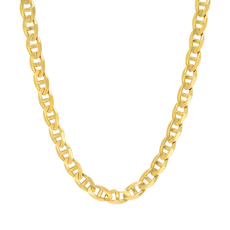14K Yellow Gold Men's Solid Mariner Chain