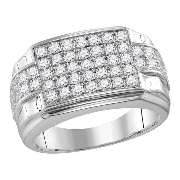 Men's 1-7/8 Ct Diamond Rectangle Cluster Ring in 10K White Gold