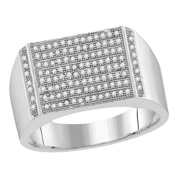 Men's 1/3 Ct Diamond Pave-set Rectangle Cluster Ring in 10K White Gold