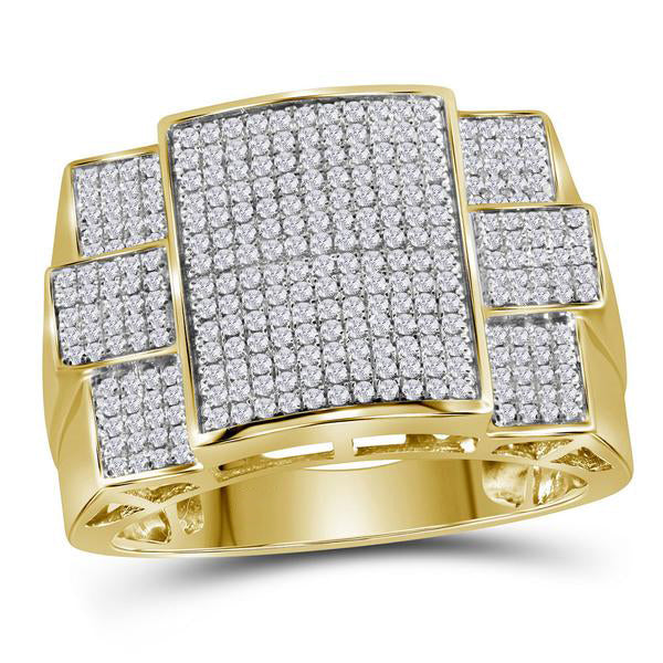 Men's 3/4 Ct Diamond Symmetrical Square Cluster Ring in 10K Yellow Gold