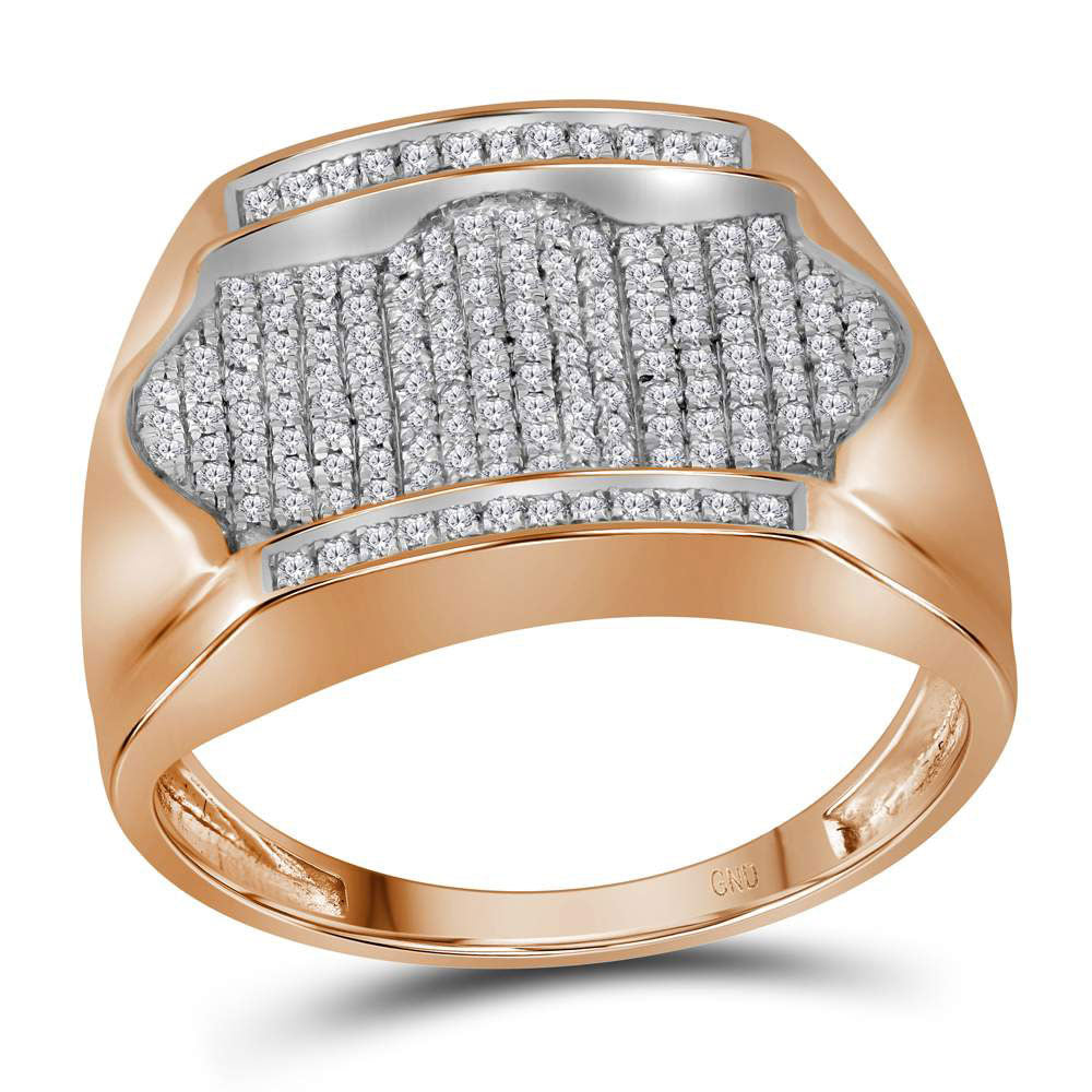 10K Rose Gold Mens Round Diamond Rectangle Arched Cluster Ring 1/2 Ct