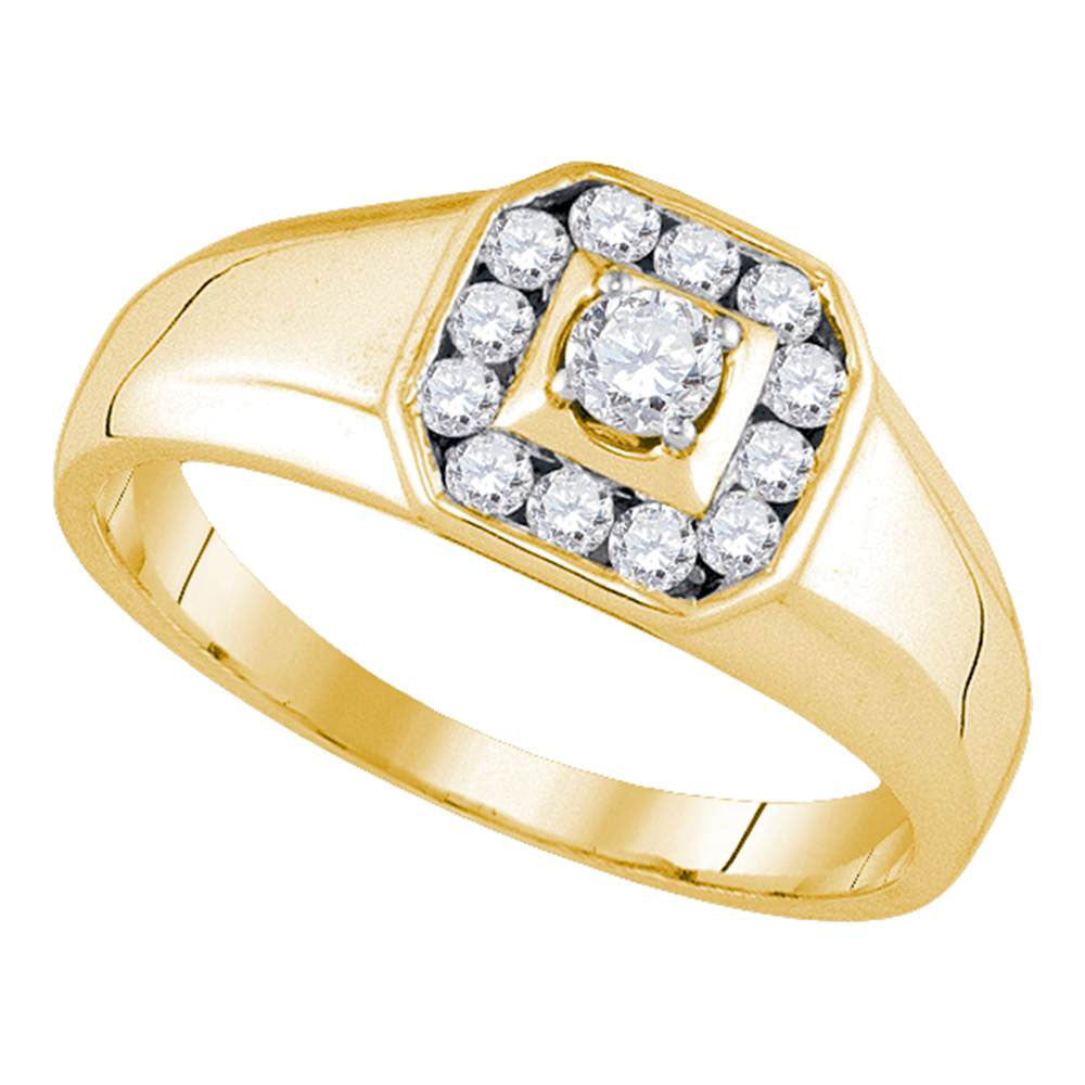 14K Yellow Gold Mens Round Diamond Cluster Ring 1/2 Ct