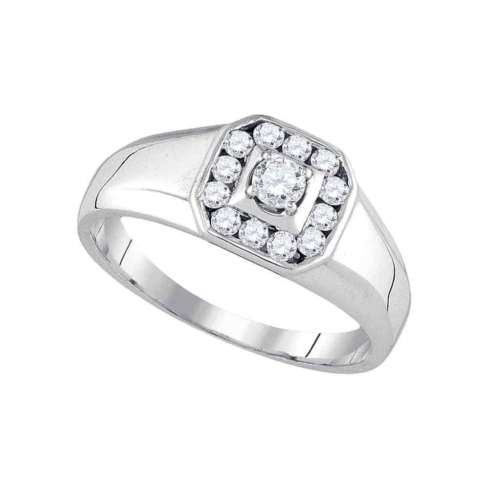 14K White Gold Mens Round Diamond Cluster Ring 1/2 Ct