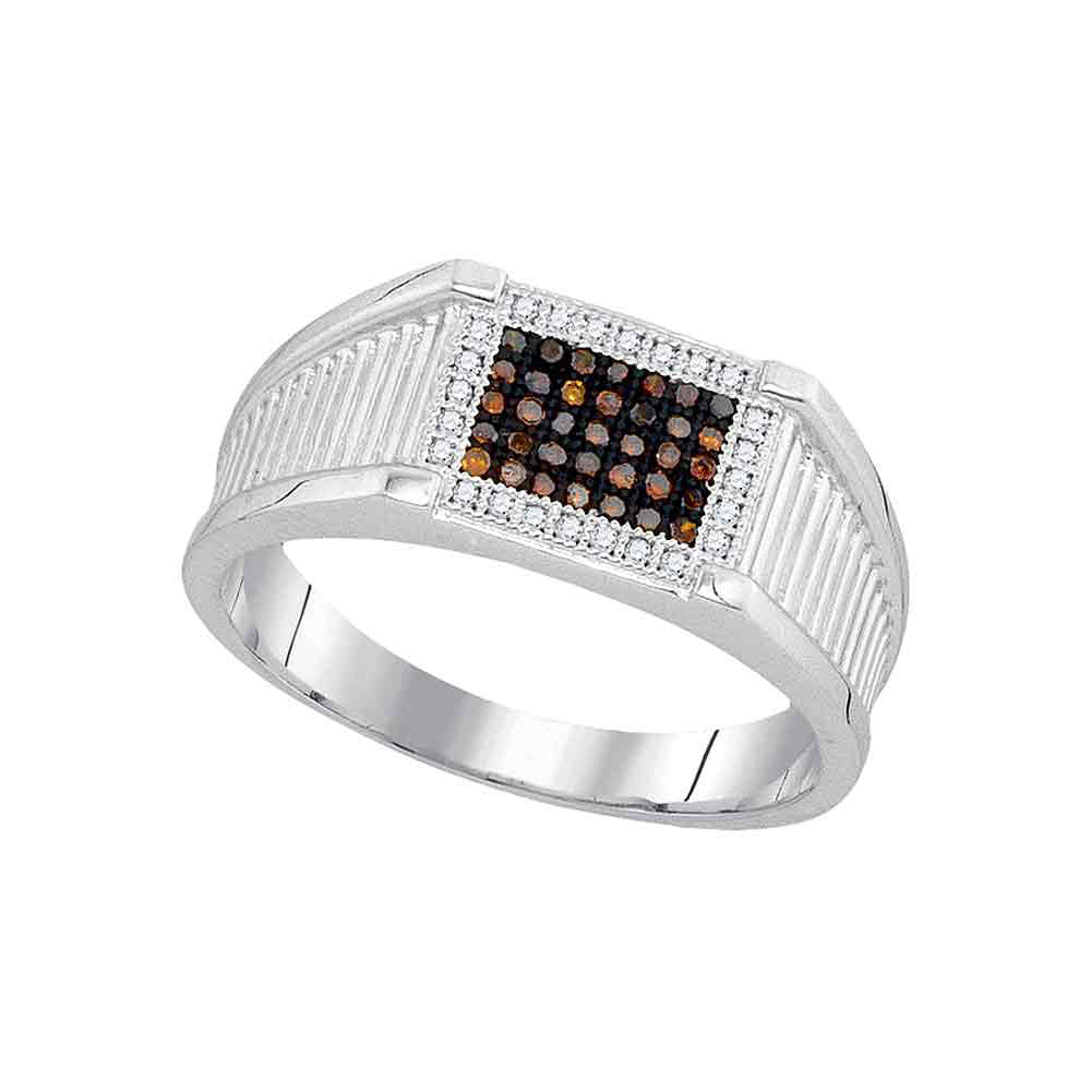 10K White Gold Mens Round Black Color Enhanced Diamond Rectangle Frame Cluster Ring 1/5 Ct