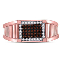 10K Rose Gold Mens Round Red Color Enhanced Diamond Rectangle Cluster Ring 1/5 Ct