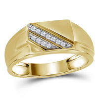 10K Yellow Gold Mens Round Diamond Diagonal Row Flat Top Fashion Ring 1/12 Ct