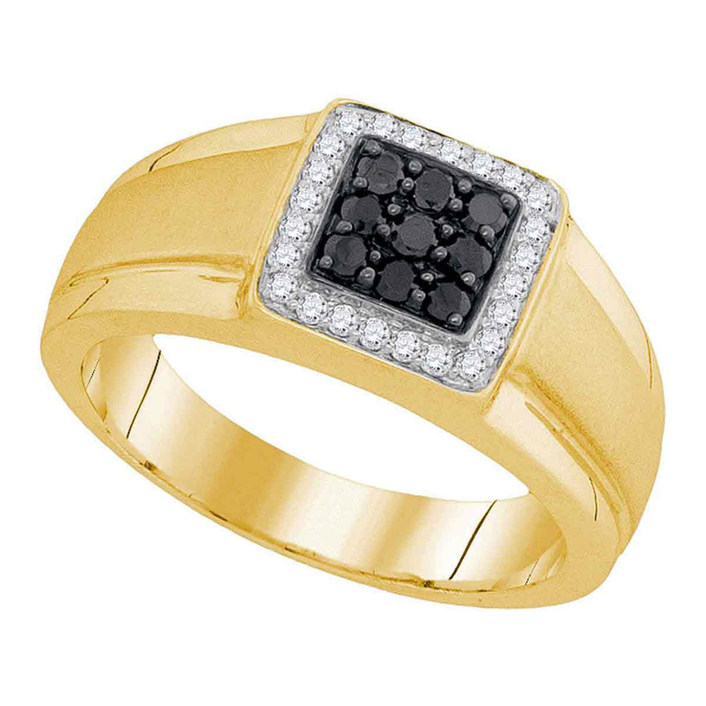 10K Yellow Gold Mens Round Black Color Enhanced Diamond Square Cluster Ring 3/8 Ct