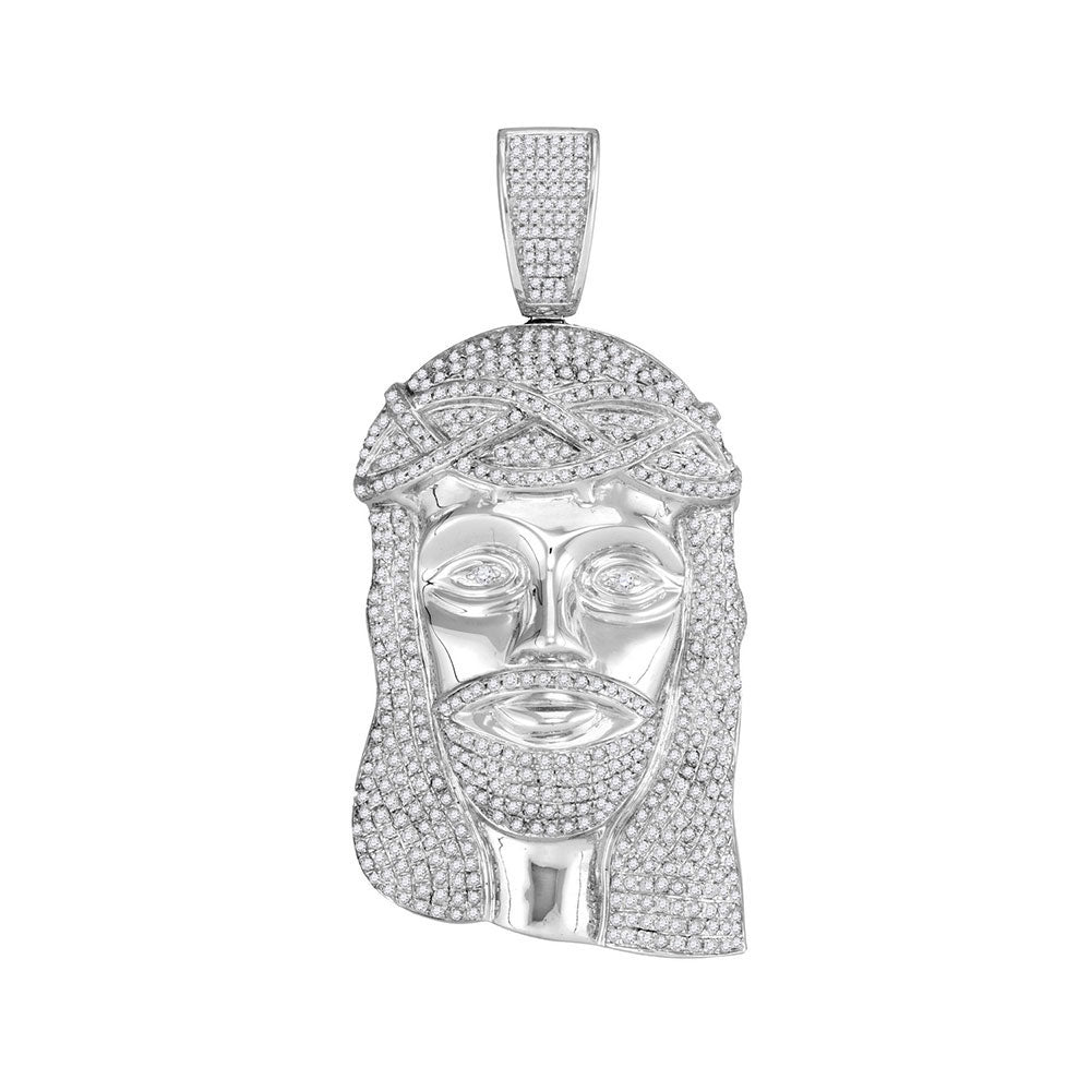 10K White Gold Men's Diamond Jesus Christ Messiah Head Charm Pendant 3.00 Ct