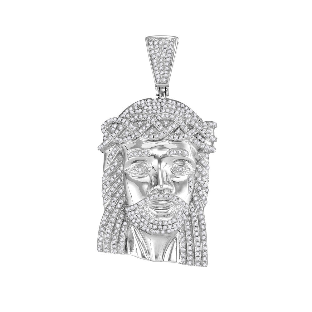 10K White Gold Men's Diamond Jesus Head Messiah Charm Pendant 1-5/8 Ct