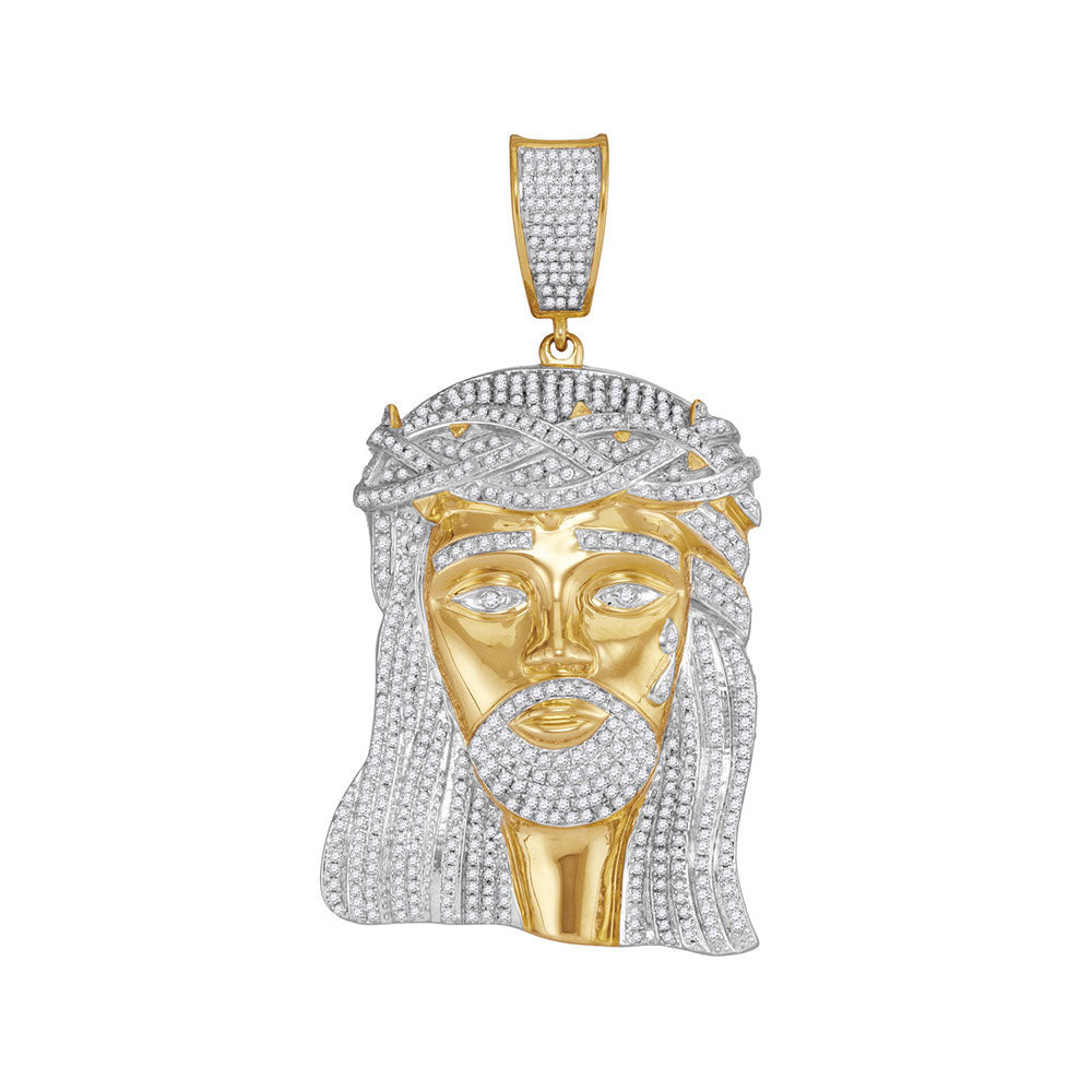10K Yellow Gold Men's Diamond Jesus Christ Messiah Charm Pendant 2-1/2 Ct
