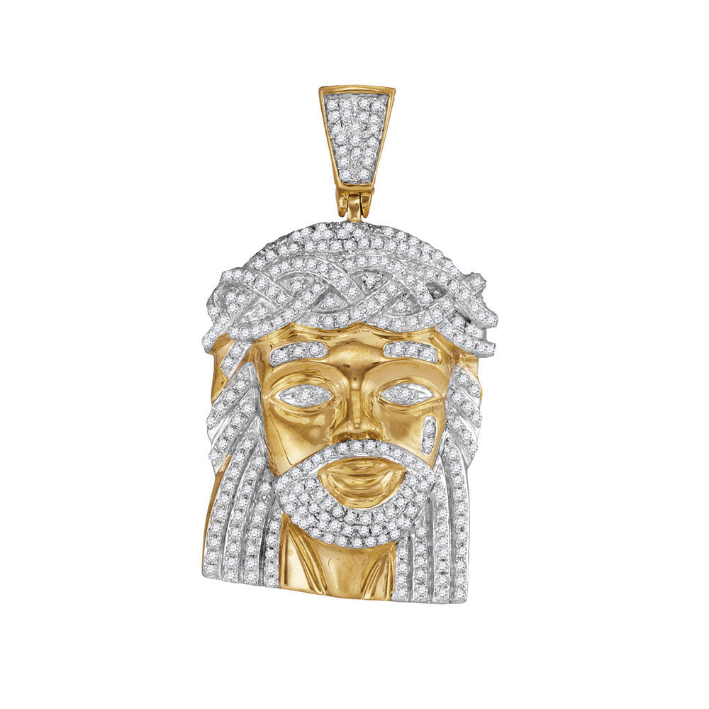 10K Yellow Gold Men's Diamond Jesus Christ Messiah Charm Pendant 1.00 Ct