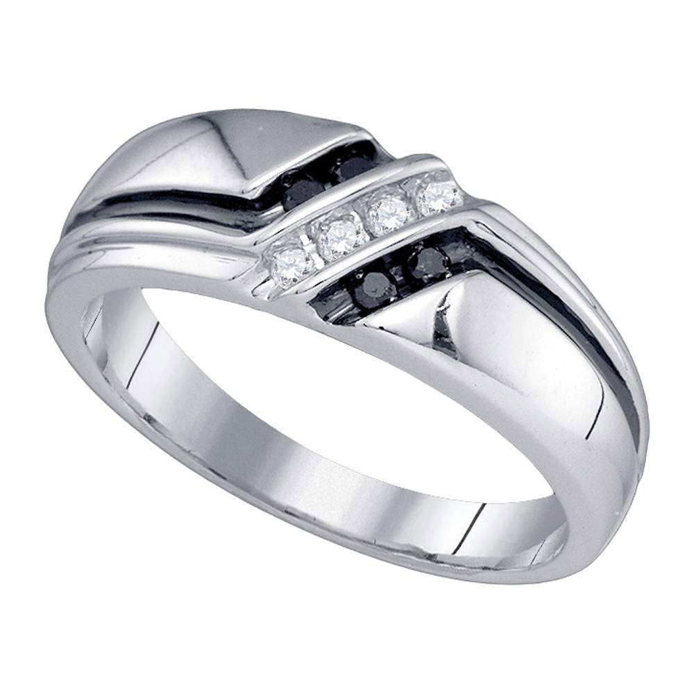 14K White Gold Mens Round Black Color Enhanced Diamond Band Ring 1/5 Ct