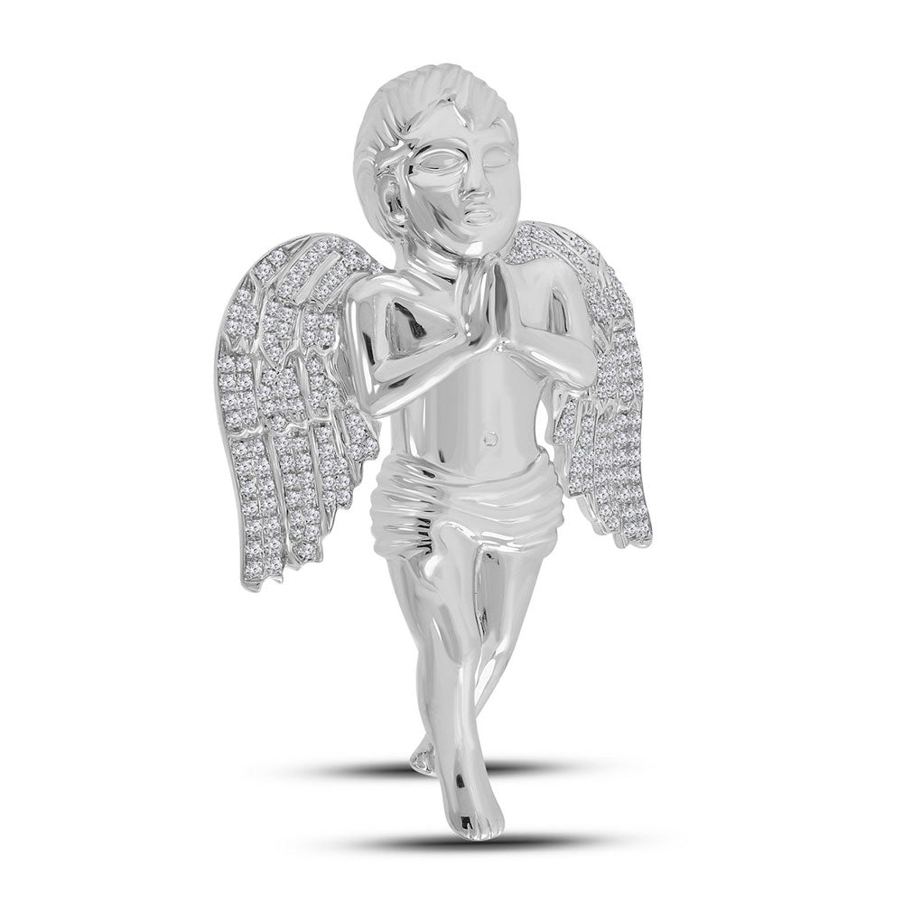 10K White Gold Men's Diamond Angel Charm Pendant 1-1/4 Ct
