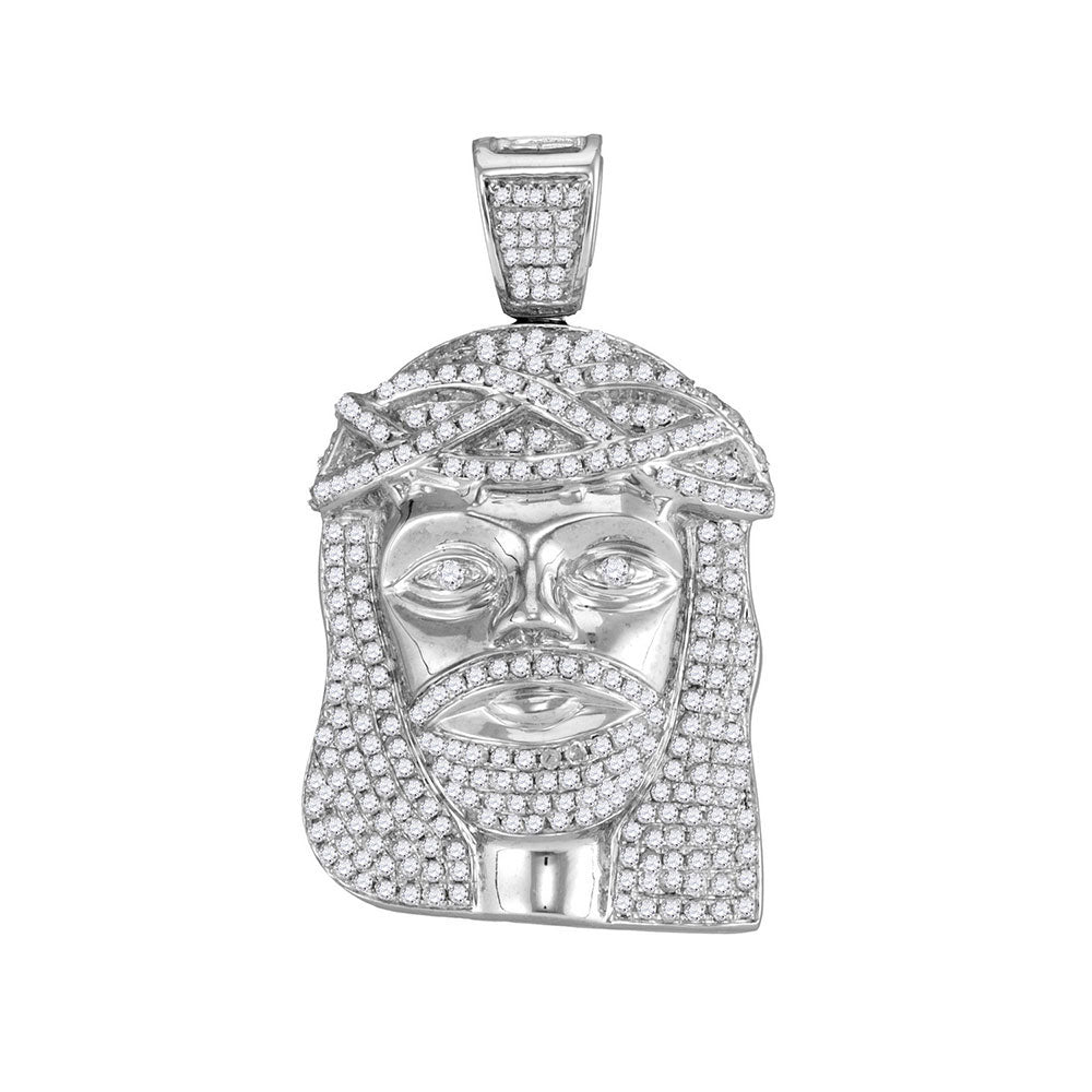 10K White Gold Men's Diamond Jesus Christ Head Charm Pendant 1-5/8 Ct