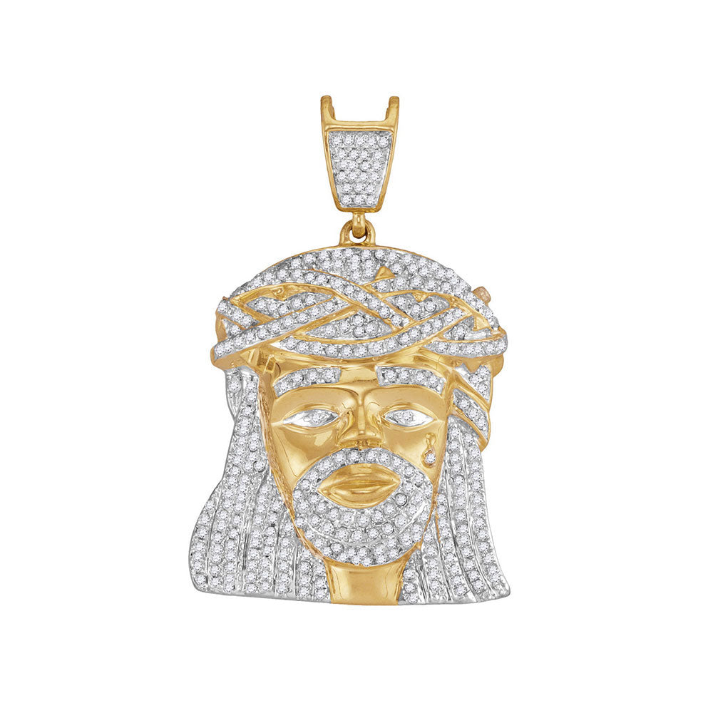 10K Yellow Gold Men's Diamond Jesus Christ Messiah Charm Pendant 1-1/4 Ct