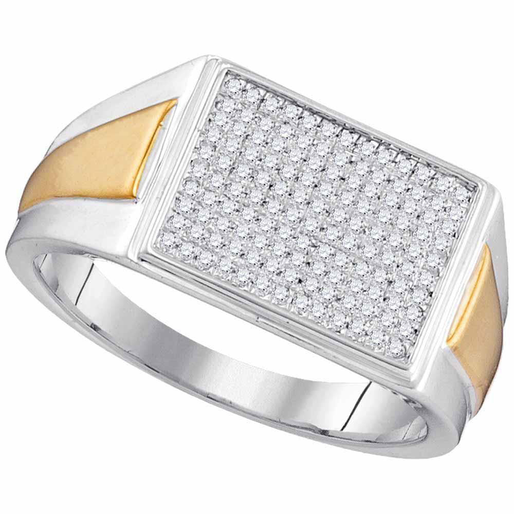 10K Two-tone White Gold Womens Round Diamond Rectangle Cluster Ring 1/3 Ct