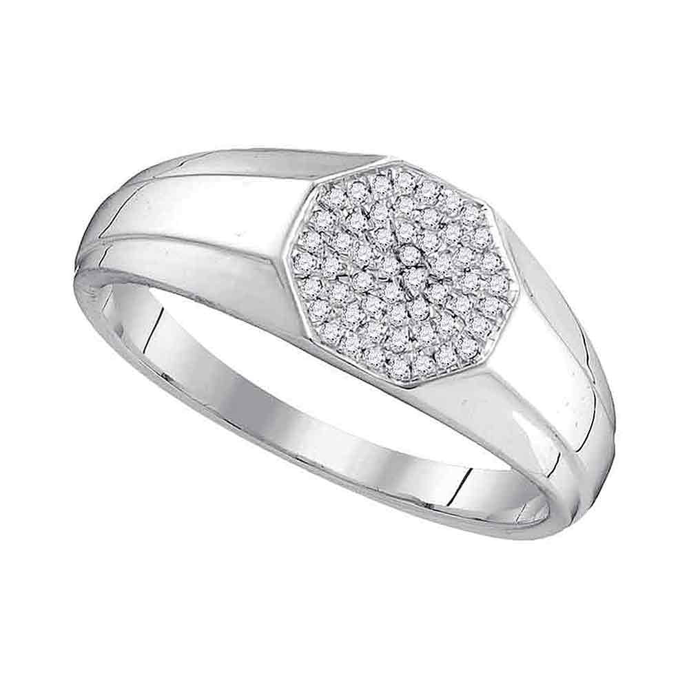 10K White Gold Mens Round Diamond Octagon Cluster Ring 1/6 Ct