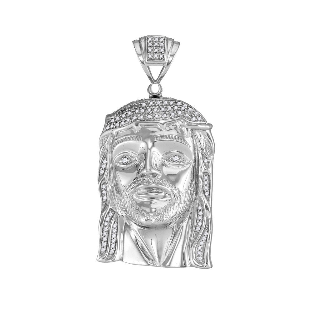 10K White Gold Men's Diamond Jesus Christ Head Messiah Charm Pendant 3/8 Ct