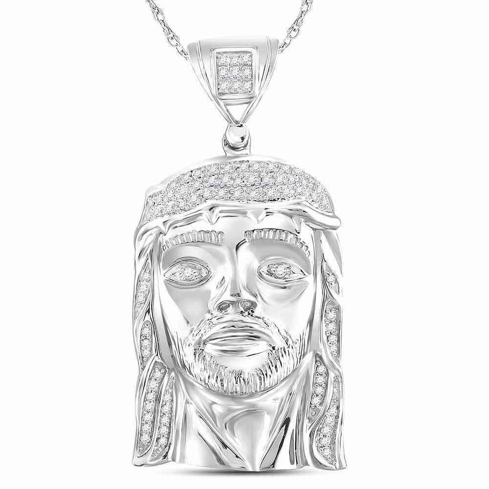 10K White Gold Men's Diamond Jesus Christ Head Face Charm Pendant 1/4 Ct