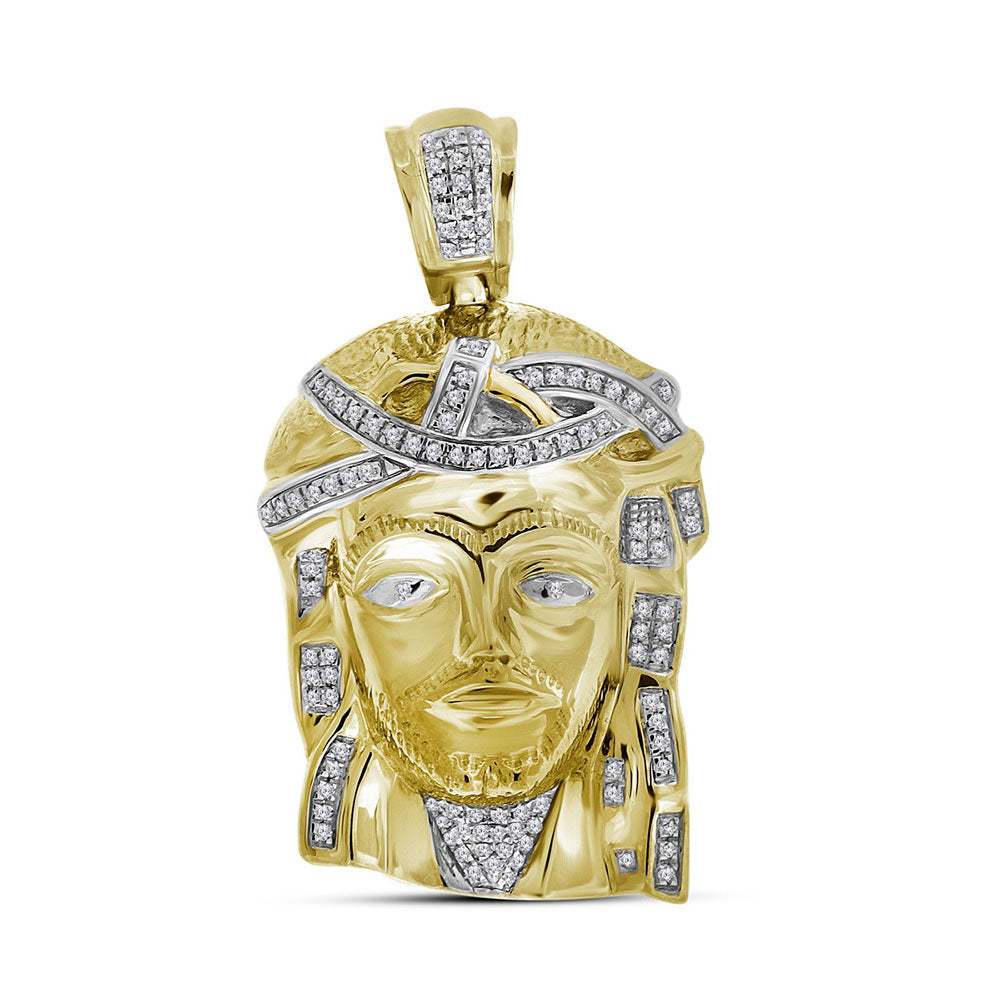 10K Yellow Gold Men's Real Diamond Jesus Christ Piece Large Charm Pendant 1/4 Ct